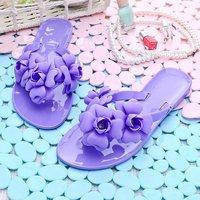 flat heel slippers female summer camellia single shoes flat jelly flip flops women's shoes