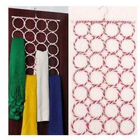 New 1PC Hot Sale Hangers 28-hole Ring Rope Slots Holder Hook Scarf TIE Wraps Storage Hanger Organizer Scarf Rack Tie Rack