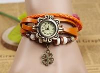 Vintage Girls Leather Strap Alloy Wishing Tree Pendant Bracelet Watches
