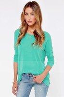 Euro Style Long Sleeve Shirts Round Neck Loose Women's Blouse Zipper Back