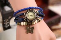 Women Genuine Leather Vintage Watches Bracelet Wristwatches Butterfly Pendant