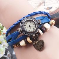 Edition retro fashion leather Love heart ladies winding watch bracelet