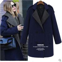 Wholesale and Retail 2014 Korean version new cloak woolen coat and long sections windbreaker jacket warm woolen coat Women
