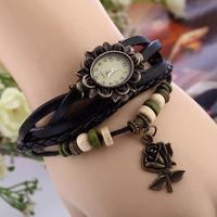 Retro Vintage Flower Pendant Weave Wrap Quartz Watches Bracelets