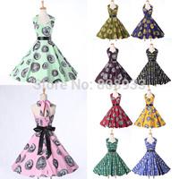 Women's Desigual Halter V Neck 60s 50s Vintage Dress Retro Rockabilly Swing Dress Pinup Casual Floral Coins Print Dress CL6292
