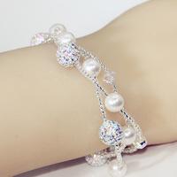 Austrian crystal ball pearl bracelet handchain three times multi-layer trans female Korean fashion pearl jewelry birthday gift