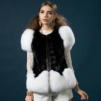 2014 new fight mink mink coat and long sections genuine natural white fox fur vest fur vest fur vest shrug free shipping