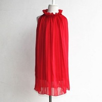 girls dresses summer 2014  pleated Pure color christmas dress free shipping