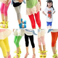 Retail 1 pcs 2014 summer models children legging candy color kids capris Skinny Leggings for girls free shipping