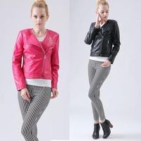 New Hot Women Motorcycle Faux Leather Jackets Female Autumn & Winter Fashion PU Black Pink Coat Zipper Outerwear Clothing S-XXL