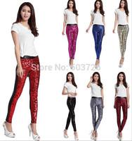 New Arrival Hot Sale Faux Leather Patchwork Sequins Leggings Women Stretch Pants