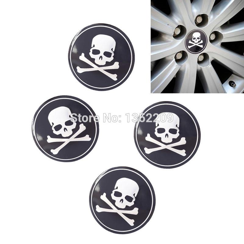 4pcs 56MM Universal Custom Skull Car Wheel Cap Cover Emblem Badge Symbol Decal Sticker Fits For BMW Honda Dodge Ford Toyota New(China (Mainland))