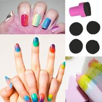 Nail Art Makeup Styling tools Manicure Sponge Nail Art Stamper Tools with 4PCS Sponge Nail for Gradient Color