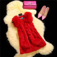 Factory 2014 New Arrival Women's  Real Rabbit Fur Vest Splicing Fox Fur Shoulder Board  Retail And Wholesale