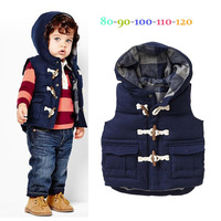 Classic boy's vest Winter fashion male child thickening vest horn button casual wadded
