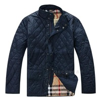 High Quality Autumn Winter 2014 male stand collar plaid quilting outerdoor wadded jacket men's plus size Cotton Outerwear coats