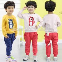 2014 autumn and winter cartoon boys clothing girls clothing child sweatshirt trousers set wholesale child sets free shipping
