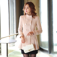 2014 autumn and winter wool outerwear wool coat female slim double breasted medium-long woolen outerwear