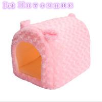 1pc/lot Pink Soft Warm Dog Bed House Kennel Fleece Pet Dog Cat Rabbit Puppy Plush Cozy Nest Mat Pad Cushion pa673450