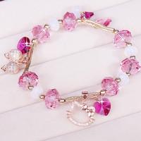Transfer beads bracelet lovely Hello Kitty Silver Austrian crystal jewelry female Korean female fashion Handchain for Girl gifts