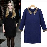Vestidos Femininos Fashion paillette woolen long-sleeve women warm autumn winter dress Casual Desigual Women Clothing LYQ17