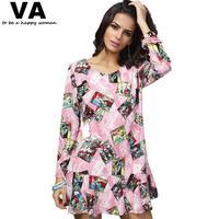 Women Dress Big Size O Neck Printing Pleated Ruffled Ladies Dresses 2014 New Autumn Fashion Woman Mini Dress 4xl 3xl P00052