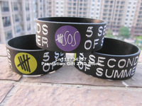 "5 SECONDS of SUMMER wristband,5 SOS Silicon Bracelet, Adult, 1"" Wide Band, Promotion Gift, Printed Logo,50pcs/Lot, Free Shipping"