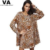 Women Dress 2014 Fashion Leopard Print Big Hem Long Sleeve Ladies Dresses Plus Size 2014 Autumn New Loose Dress for Women W00167