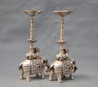 Wonderful 10'' China Silver Bronze pair elephant candle stick Bronze Statue wholesale Cheap silver art gif