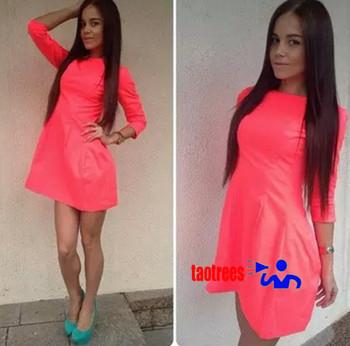 Taotrees новинка платье женщин 2014 зима весна девушки в симпатичное платье длина рукава