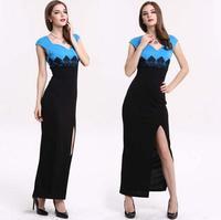 2015 sexy Women Lace Sleeveless Party Bodycon Slits fashion Long Dresses Blue