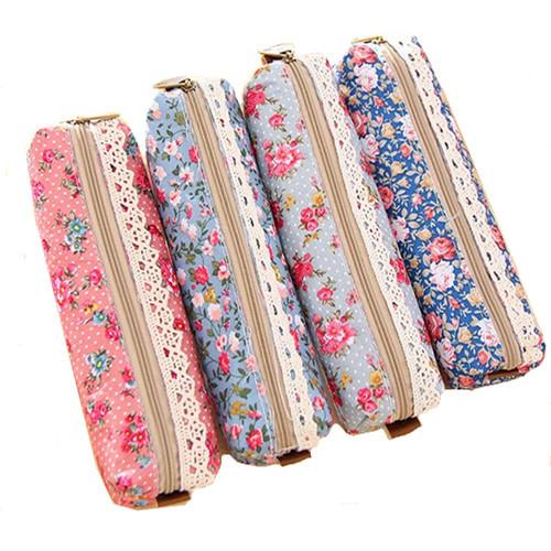 Fashion Mini School Pencil Case Retro Flower Floral Lace Pencil Pen Bag Cosmetic Makeup Bag Pouch 20cm HF188(China (Mainland))