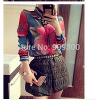 NEW Arrival Fashion Women Shirt 2014 Autumn European Style Long Sleeve Blouse Chiffon Vintage Flower Printed Casual Blusas