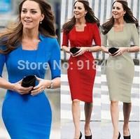 New 2014 Elegant Women Autumn Winter Dress Brief Casual Red Vestido Femininas Strech Bodycon Professional OL Office Dress LYQ20