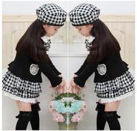 Retail hot style children clothes set coat cap skirt gril clothes ,vintage plaid British Style kids clothes set