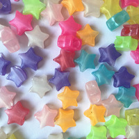 1000pcs 10mm Multi Pearlescent Star Pony Beads Plastic Loom Craft Beads Raver Kandi Dummy Clips