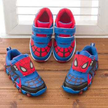 Дети обуви 2014 новый осень человек паук мигалкой мода спорт кроссовки для детей мальчик спорт бренд детская обувь мальчики девочки