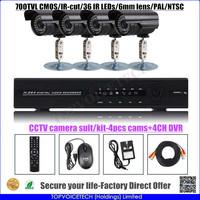 CCTV 4x outdoor 700tvl CMOS cctv cameras kit with 4ch DVR NO HDD, 36 IR LEDS,CCTV security camera set