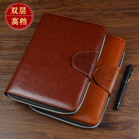 Free shipping Commercial notepad zipper bag A4/B5/A5 multifunctional manager folder leather loose-leaf office stationery