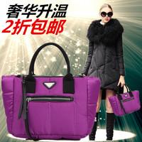 2014 female winter down bag  fashion cotton-padded jacket bag one shoulder cross-body women's handbag space bag