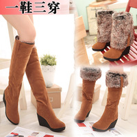 Autumn and winter high-heeled boots women's shoes flat wedges female boots over-the-knee snow boots cotton-padded shoes boots