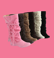 New Style Women Fashion  High Quality   Flat  Knee High Long Boots 5 Color Winter  Lady's Snow Boot Big Size 34-43