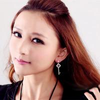 2014 Explosion models Fashion Cute Temperament Clover brincos earrings women double pendientes ears boucle Key doreille