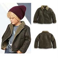 Boy's winter coat fashion turn-down collar plus velvet thickening outerwear