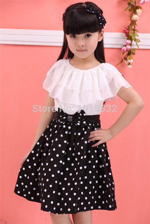 Girl Pageant Dresses Children Girl Elegant Black With White Polka Dot Dresses Girl Party/Birthday Dresses Kids Clothes(China (Mainland))