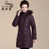 Free Shipping High Quality Winter Jacket Women Plus Size Down Coat With Raccoon Fur Collar Medium-long Design FSM809