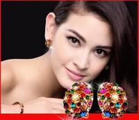 2014 diamond large size star multicolour rhinestone anti-allergic earrings female big stud earring
