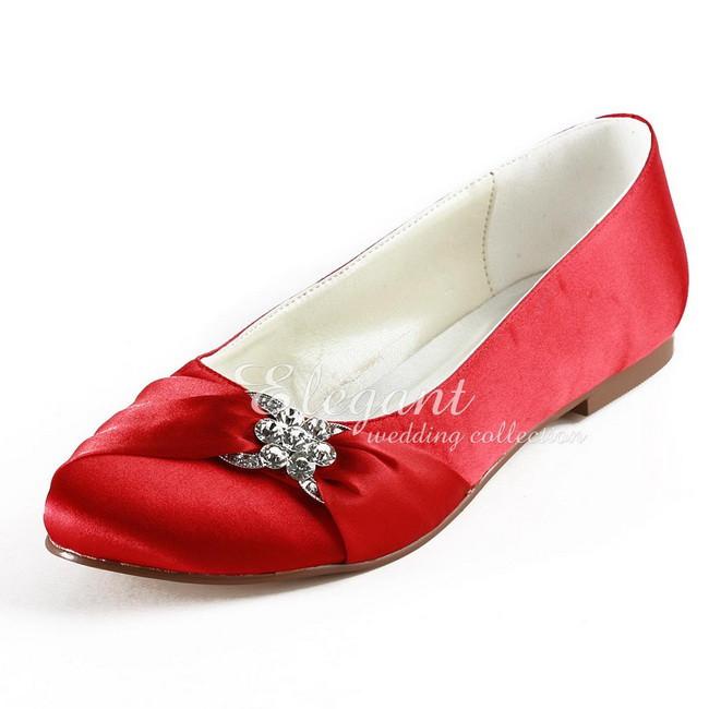 Fashion Wedding Flats EP2006 Red Round Toe Rhinestone Bridal Flats Satin Bow Woman's Shoes(China (Mainland))