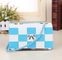 2015 Real Freeshipping Unisex Bow Cover New Handbags Square Shoulder Diagonal Cross Handbag Korean Fine Pattern Shaped Bag