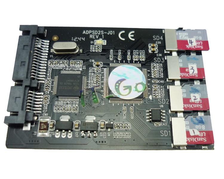 Quad TF RAID to SATA 22pin Adaptor Multi Micro SD card converter Free Shipping(China (Mainland))
